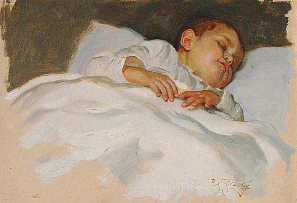 Maleri av Maly Vaclav - Study of a sleeping child. Illustrasjonsfoto: Wiki Commons