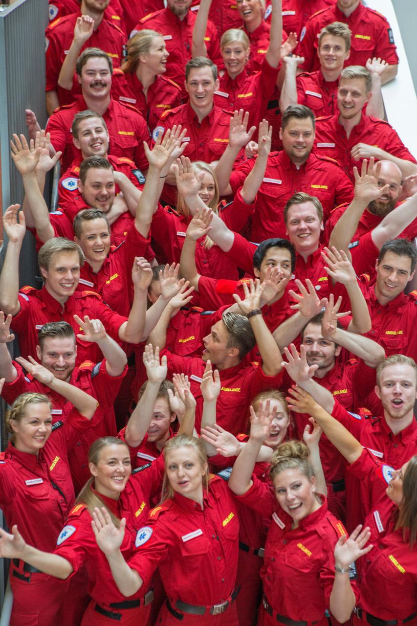 Avslutningsseremonien til det første kullet bachelor paramedic-studenter ved Høgskolen i Oslo og Akershus (nå OsloMet) den 29. mai, 2017. Foto: Fredrik Naumann/Felix Features