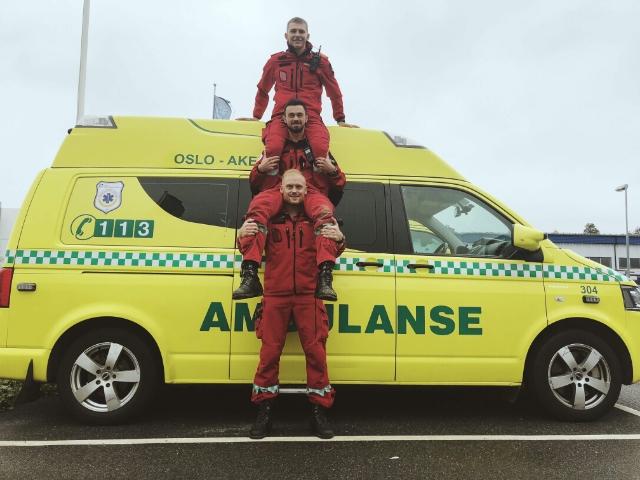 Gutter på helsefag: OsloMet bachelor i prehospitalt arbeid sitt studentlag på ambulansemesterskap 2018. Foto: Privat
