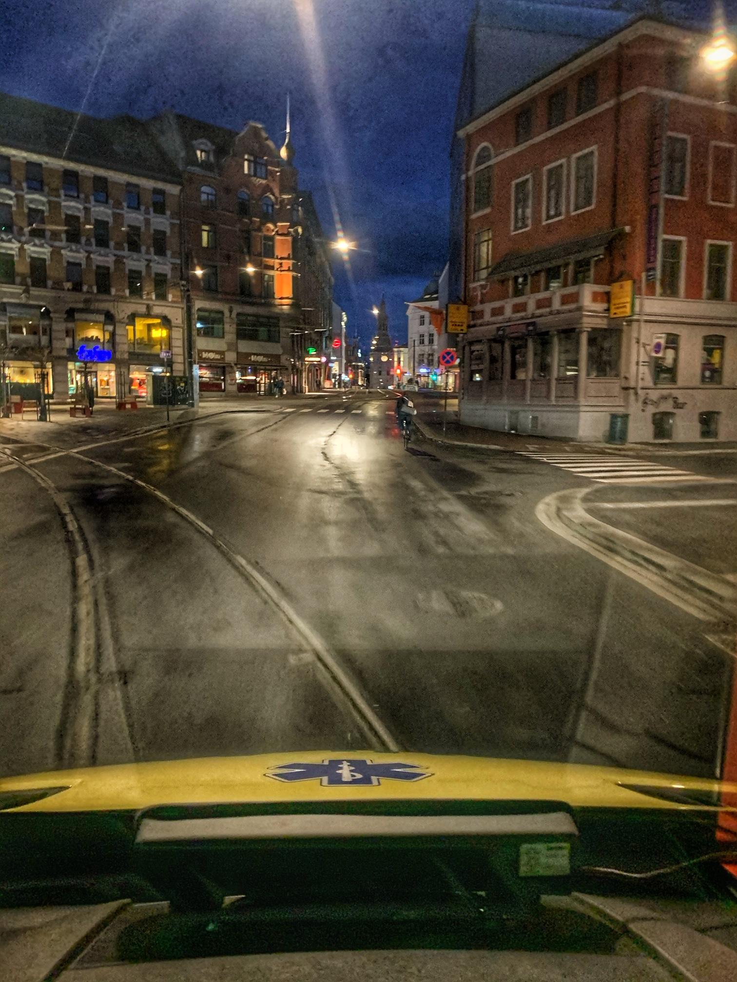 Tomme gater i Oslo - fra ambulanseperspektiv. Foto: OUS