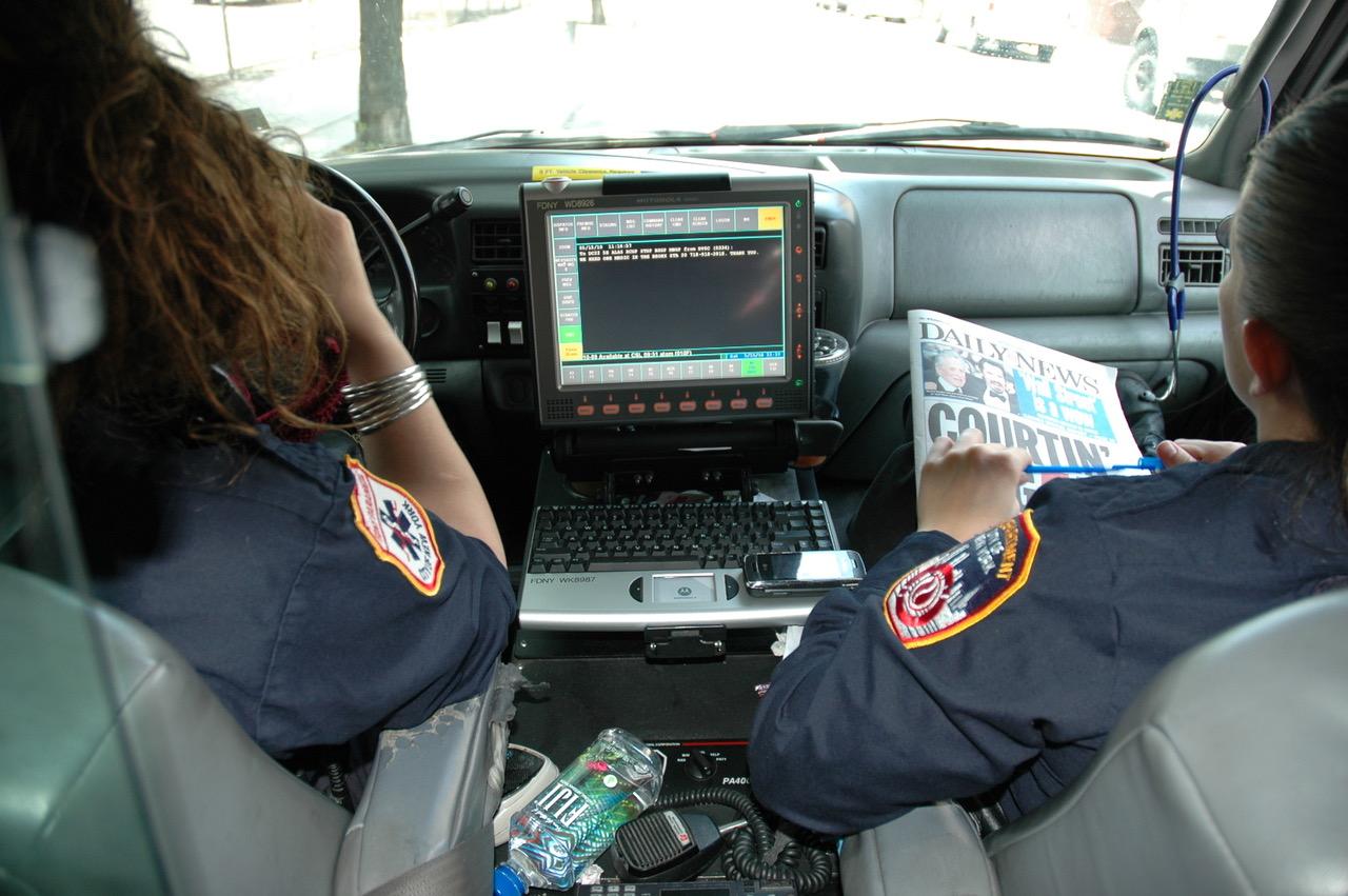 På hjørnet i nærheten av Empire State Building holder ambulansen til i åtte timer. Foto: Live Oftedahl